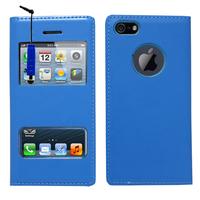 Apple iPhone 5/ 5S/ SE: Accessoire Coque Etui Housse Pochette Plastique View Case + mini Stylet - BLEU