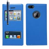 Apple iPhone 5/ 5S/ SE: Accessoire Coque Etui Housse Pochette Plastique View Case + Stylet - BLEU
