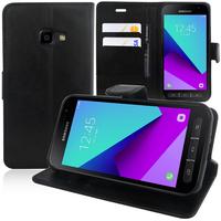 Samsung Galaxy Xcover 4 SM-G390F: Accessoire Etui portefeuille Livre Housse Coque Pochette support vidéo cuir PU - NOIR