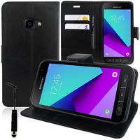 Samsung Galaxy Xcover 4 SM-G390F: Accessoire Etui portefeuille Livre Housse Coque Pochette support vidéo cuir PU + mini Stylet - NOIR