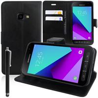 Samsung Galaxy Xcover 4 SM-G390F: Accessoire Etui portefeuille Livre Housse Coque Pochette support vidéo cuir PU + Stylet - NOIR