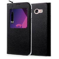 "Samsung Galaxy A3 (2017) 4.7"" A320F/FL A320Y/ A3 (2017) Duos (non compatible Version 2014/ 2015/ 2016): Etui View Case Flip Folio Leather cover + mini Stylet - NOIR"
