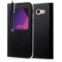 "Samsung Galaxy A3 (2017) 4.7"" A320F/FL A320Y/ A3 (2017) Duos (non compatible Version 2014/ 2015/ 2016): Etui View Case Flip Folio Leather cover + Stylet - NOIR"