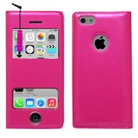 Apple iPhone 5C: Accessoire Coque Etui Housse Pochette Plastique View Case + mini Stylet - ROSE