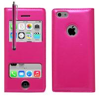 Apple iPhone 5C: Accessoire Coque Etui Housse Pochette Plastique View Case + Stylet - ROSE