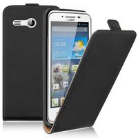 """Huawei Ascend Y511 4.5"""": Accessoire Housse Coque Pochette Etui protection vrai cuir à rabat vertical - NOIR"""