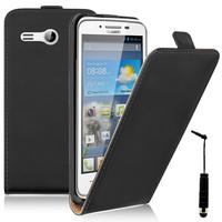 """Huawei Ascend Y511 4.5"""": Accessoire Housse Coque Pochette Etui protection vrai cuir à rabat vertical + mini Stylet - NOIR"""