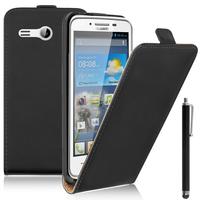 """Huawei Ascend Y511 4.5"""": Accessoire Housse Coque Pochette Etui protection vrai cuir à rabat vertical + Stylet - NOIR"""