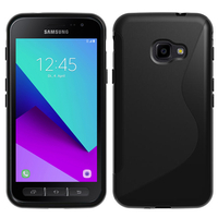 Samsung Galaxy Xcover 4: Accessoire Housse Etui Pochette Coque Silicone Gel motif S Line - NOIR