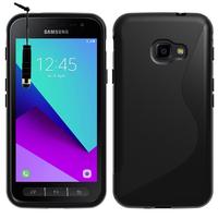 Samsung Galaxy Xcover 4: Accessoire Housse Etui Pochette Coque Silicone Gel motif S Line + mini Stylet - NOIR