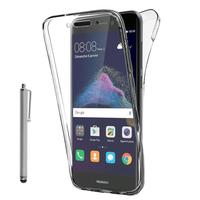 """Huawei P8 Lite (2017) 5.2""""/ P9 Lite (2017)/ Honor 8 Lite/ Nova Lite/ GR3 (2017) (non compatible Version 2015/ 2016): Coque Housse Silicone Gel TRANSPARENTE ultra mince 360° protection intégrale Avant et Arrière + Stylet - TRANSPARENT"""