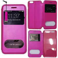 Apple iPhone 6 Plus/ 6s Plus: Accessoire Coque Etui Housse Pochette Plastique View Case + mini Stylet - ROSE