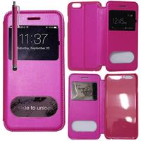 Apple iPhone 6 Plus/ 6s Plus: Accessoire Coque Etui Housse Pochette Plastique View Case + Stylet - ROSE