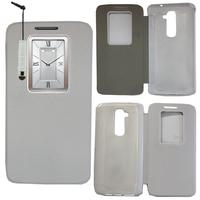 LG G2 D802/ D803/ VS980: Accessoire Coque Etui Housse Pochette Plastique View Case + mini Stylet - BLANC