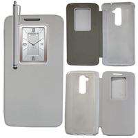 LG G2 D802/ D803/ VS980: Accessoire Coque Etui Housse Pochette Plastique View Case + Stylet - BLANC