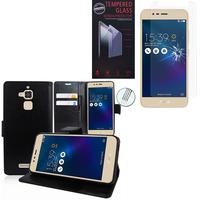 """Asus Zenfone 3 Max ZC520TL 5.2"""": Etui Coque Housse Pochette Accessoires portefeuille support video cuir PU - NOIR + 1 Film de protection d'écran Verre Trempé"""