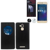"""Asus Zenfone 3 Max ZC520TL 5.2"""": Coque Etui Housse Pochette Plastique View Case - NOIR + 1 Film de protection d'écran Verre Trempé"""