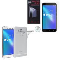 """Asus Zenfone 3 Max ZC553KL 5.5"""": Etui Housse Pochette Accessoires Coque gel UltraSlim - TRANSPARENT + 1 Film de protection d'écran Verre Trempé"""