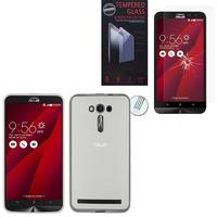 """Asus Zenfone 2 Laser ZE600KL/ ZE601KL 6.0"""": Coque Etui Housse Pochette Accessoires Silicone Gel - TRANSPARENT + 1 Film de protection d'écran Verre Trempé"""