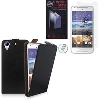 HTC Desire 628/ 628 dual sim: Etui Coque Housse Pochette Accessoires cuir slim ultra fine - NOIR + 1 Film de protection d'écran Verre Trempé