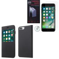 """Apple iPhone 7 Plus 5.5"""" (non compatible iPhone 7 4.7''): Etui View Case Flip Folio Leather cover - NOIR + 1 Film de protection d'écran Verre Trempé"""