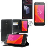 """Lenovo A Plus A1010a20 4.5"""": Etui Coque Housse Pochette Accessoires portefeuille support video cuir PU - NOIR + 1 Film de protection d'écran Verre Trempé"""