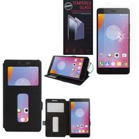 """Lenovo K6 Note 4G 5.5"""": Etui View Case Flip Folio Leather cover - NOIR + 1 Film de protection d'écran Verre Trempé"""