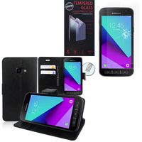 Samsung Galaxy Xcover 4: Etui Coque Housse Pochette Accessoires portefeuille support video cuir PU - NOIR + 1 Film de protection d'écran Verre Trempé