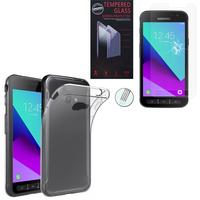 Samsung Galaxy Xcover 4: Etui Housse Pochette Accessoires Coque gel UltraSlim - TRANSPARENT + 1 Film de protection d'écran Verre Trempé