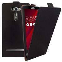 """Asus Zenfone 2 Laser ZE600KL/ ZE601KL 6.0"""": Accessoire Housse Coque Pochette Etui protection vrai cuir à rabat vertical - NOIR"""