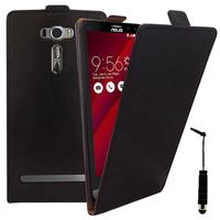 """Asus Zenfone 2 Laser ZE600KL/ ZE601KL 6.0"""": Accessoire Housse Coque Pochette Etui protection vrai cuir à rabat vertical + mini Stylet - NOIR"""