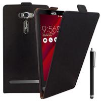 """Asus Zenfone 2 Laser ZE600KL/ ZE601KL 6.0"""": Accessoire Housse Coque Pochette Etui protection vrai cuir à rabat vertical + Stylet - NOIR"""