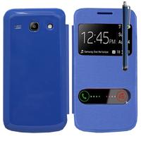 Samsung Galaxy Core Plus G3500/ Trend 3 G3502: Accessoire Coque Etui Housse Pochette Plastique View Case + Stylet - BLEU