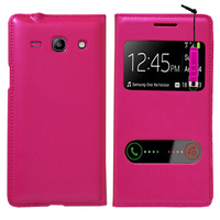 Samsung Galaxy Core Plus G3500/ Trend 3 G3502: Accessoire Coque Etui Housse Pochette Plastique View Case + mini Stylet - ROSE