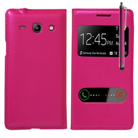 Samsung Galaxy Core Plus G3500/ Trend 3 G3502: Accessoire Coque Etui Housse Pochette Plastique View Case + Stylet - ROSE
