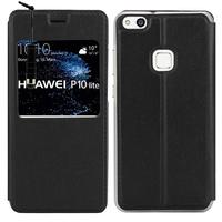 "Huawei P10 Lite 5.2"" (non compatible Huawei P10/ P10 Plus): Etui View Case Flip Folio Leather cover + mini Stylet - NOIR"