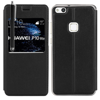"Huawei P10 Lite 5.2"" (non compatible Huawei P10/ P10 Plus): Etui View Case Flip Folio Leather cover + Stylet - NOIR"