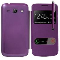 Samsung Galaxy Core Plus G3500/ Trend 3 G3502: Accessoire Coque Etui Housse Pochette Plastique View Case + Stylet - VIOLET