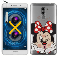 "Huawei Honor 6X 5.5""/ 6X Pro/ GR5 2017/ Mate 9 Lite: Coque Housse silicone TPU Transparente Ultra-Fine Dessin animé jolie + mini Stylet - Minnie Mouse"