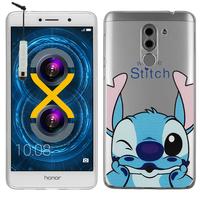 """Huawei Honor 6X 5.5""""/ 6X Pro/ GR5 2017/ Mate 9 Lite: Coque Housse silicone TPU Transparente Ultra-Fine Dessin animé jolie + mini Stylet - Stitch"""