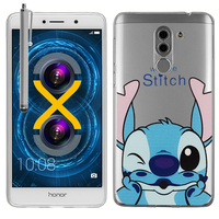 "Huawei Honor 6X 5.5""/ 6X Pro/ GR5 2017/ Mate 9 Lite: Coque Housse silicone TPU Transparente Ultra-Fine Dessin animé jolie + Stylet - Stitch"