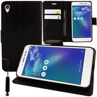 """Asus Zenfone Live ZB501KL 5.0""""/ Zenfone 3 Go (non compatible Zenfone Go ZB500KL): Accessoire Etui portefeuille Livre Housse Coque Pochette support vidéo cuir PU + mini Stylet - NOIR"""