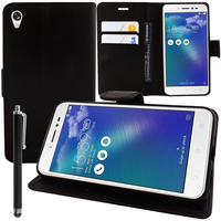 """Asus Zenfone Live ZB501KL 5.0""""/ Zenfone 3 Go (non compatible Zenfone Go ZB500KL): Accessoire Etui portefeuille Livre Housse Coque Pochette support vidéo cuir PU + Stylet - NOIR"""