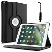 Apple iPad 9.7 2017: Accessoire Etui Housse Coque avec support Et Rotative Rotation 360° en cuir PU + mini Stylet - NOIR