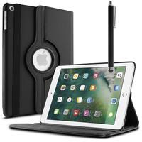 Apple iPad 9.7 2017: Accessoire Etui Housse Coque avec support Et Rotative Rotation 360° en cuir PU + Stylet - NOIR