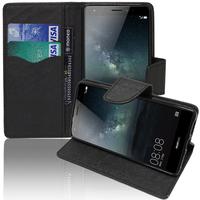 Huawei Mate S: Accessoire Etui portefeuille Livre Housse Coque Pochette support vidéo cuir PU effet tissu - NOIR