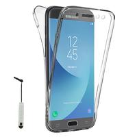 Samsung Galaxy J5 (2017) SM-J750F/DS/ J5 (2017) Duos J530F/DS: Coque Housse Silicone Gel TRANSPARENTE ultra mince 360° protection intégrale Avant et Arrière + mini Stylet - TRANSPARENT
