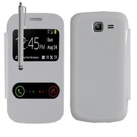 Samsung Galaxy Trend Lite S7390/ Galaxy Fresh Duos S7392: Accessoire Coque Etui Housse Pochette Plastique View Case + Stylet - BLANC