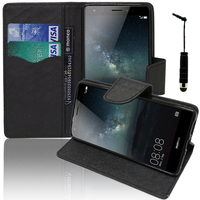 Huawei Mate S: Accessoire Etui portefeuille Livre Housse Coque Pochette support vidéo cuir PU effet tissu + mini Stylet - NOIR