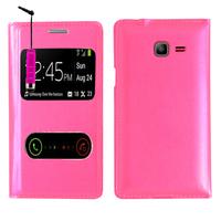 Samsung Galaxy Trend Lite S7390/ Galaxy Fresh Duos S7392: Accessoire Coque Etui Housse Pochette Plastique View Case + mini Stylet - ROSE